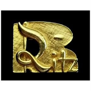 Vintage 40s THE RITZ Gold Brooch Pin Jewelry
